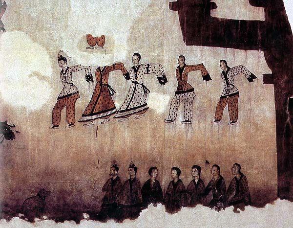 Goguryeo Tomb Murals - Dancers (closeup)  Muyong Tomb, 5th century A.D.  Ji'an city, Jilin province, China