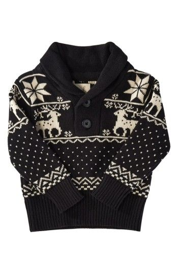 Free shipping and returns on Peek 'Reindeer' Shawl Collar Sweater (Baby Boys) at Nordstrom.com. Vintage-inspired reindeer and snowflakes add a festive touch to a cotton-knit sweater topped with a cozy shawl collar.