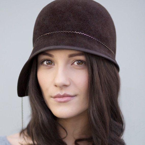 Cloche Hat in Brown Felt Felt Hat Chocolate by MaggieMowbrayHats