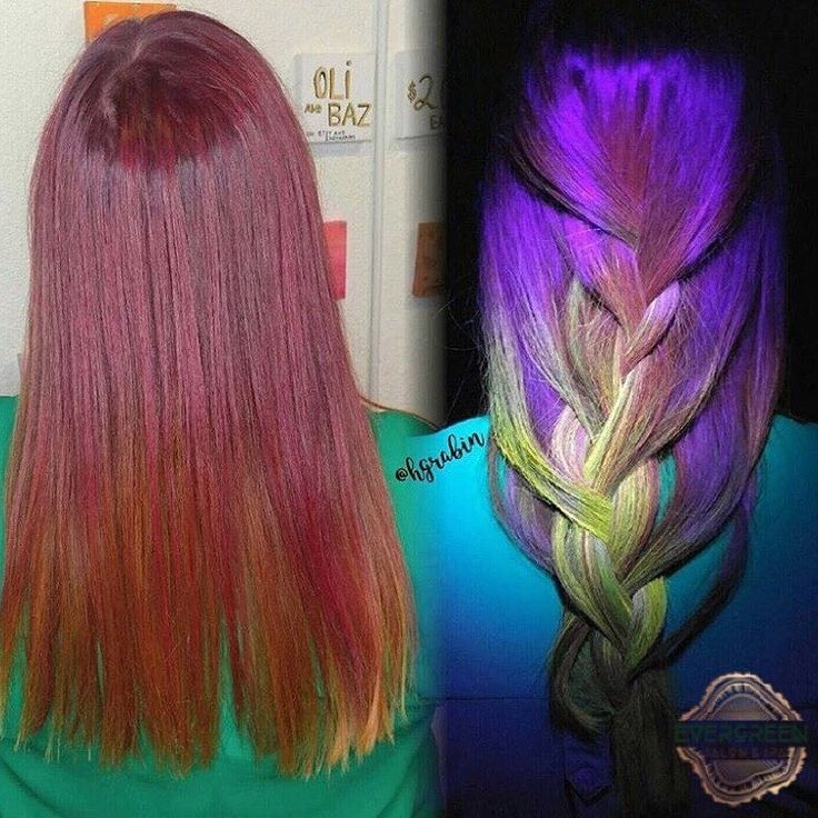 Red Yellow Purple Lime Green Neon Black Light Color Long Length Braid Hair Stylist Heather