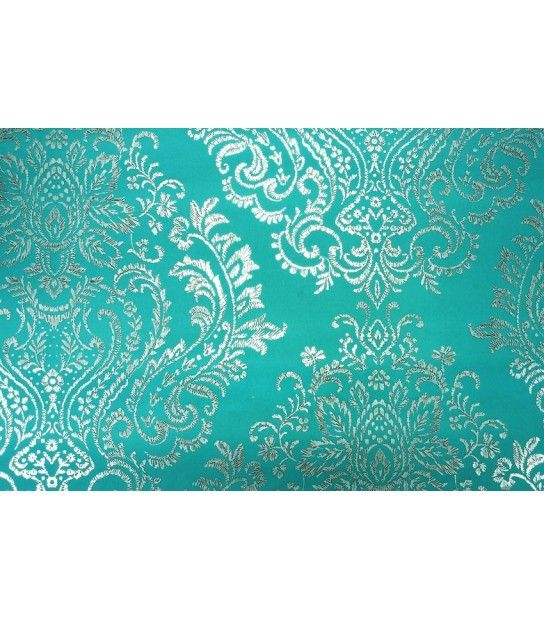 Tapet textil turcoaz argintiu model oriental 125 cm latime Opium Giardini OM1103