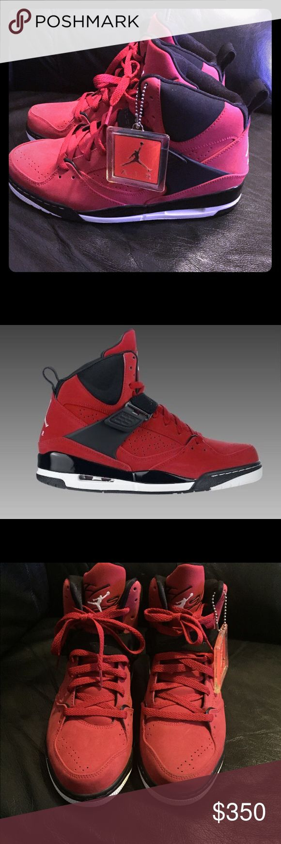 Rare Jordan flight 45 suede Worn one time in perfect condition rare 2010 Jordan flight 45 in red suede these are very hard to find and very rare in this color and size pretty much new for a seven year old shoe Jordan Shoes Sneakers