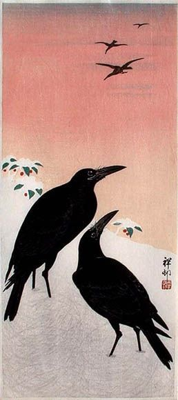Ravens in the Snow  by Ohara Koson, 1930  (published by Watanabe Shozaburo)