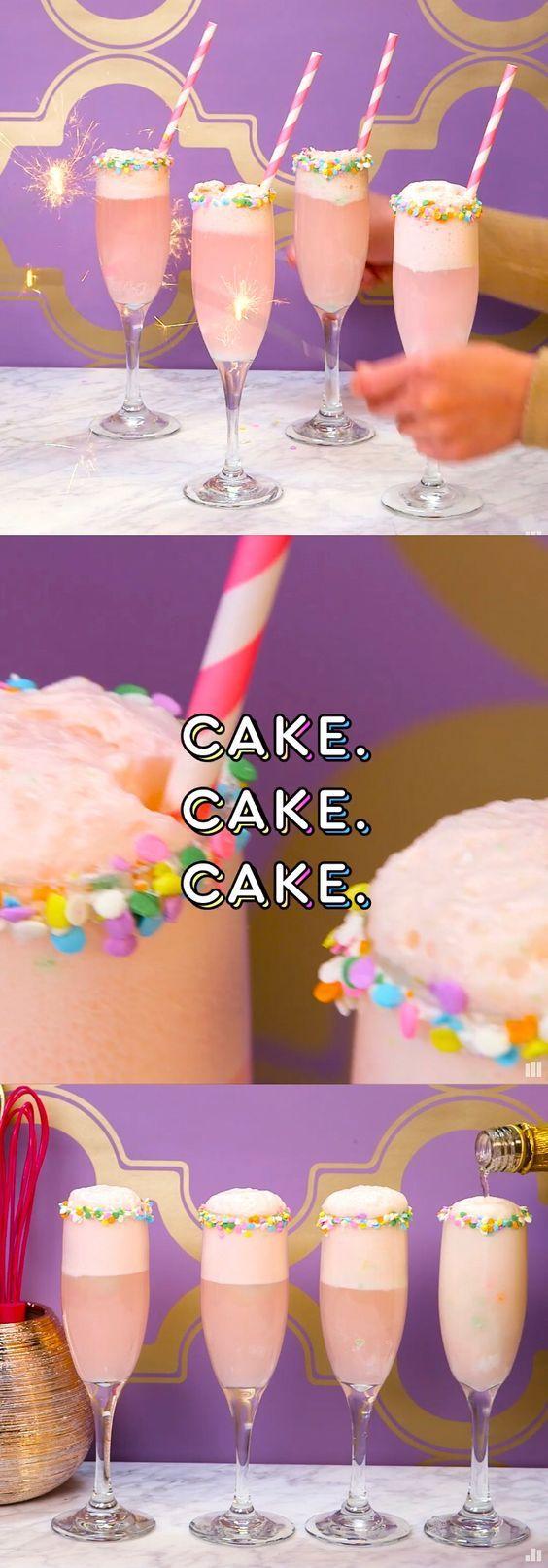 birthday cake mimosas: birthday cake vodka + birthday cake ice cream + champagne with a frosting & sprinkles rim