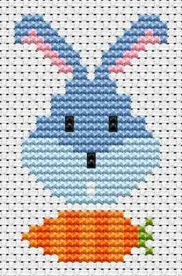 Sew Simple Bunny Head cross stitch kit from Fat Cat Cross Stitch Finished size approx 4.8cm x 7.8cm. Kit contains 11ct white aida fabric, stranded embroidery cotton, needle, colour chart and instructions. A brand new kit will be sent directly to you by Fat Cat Cross Stitch - usually within 2-4 working days © Fat Cat Cross Stitch