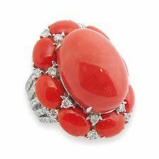 18K White Gold Coral diamantový prsten SZ 7,5