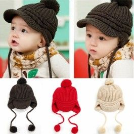 High Quality Spring Children's Knitted Hats Boys Caps Baby Girls Hat Beanie Peaked Cap