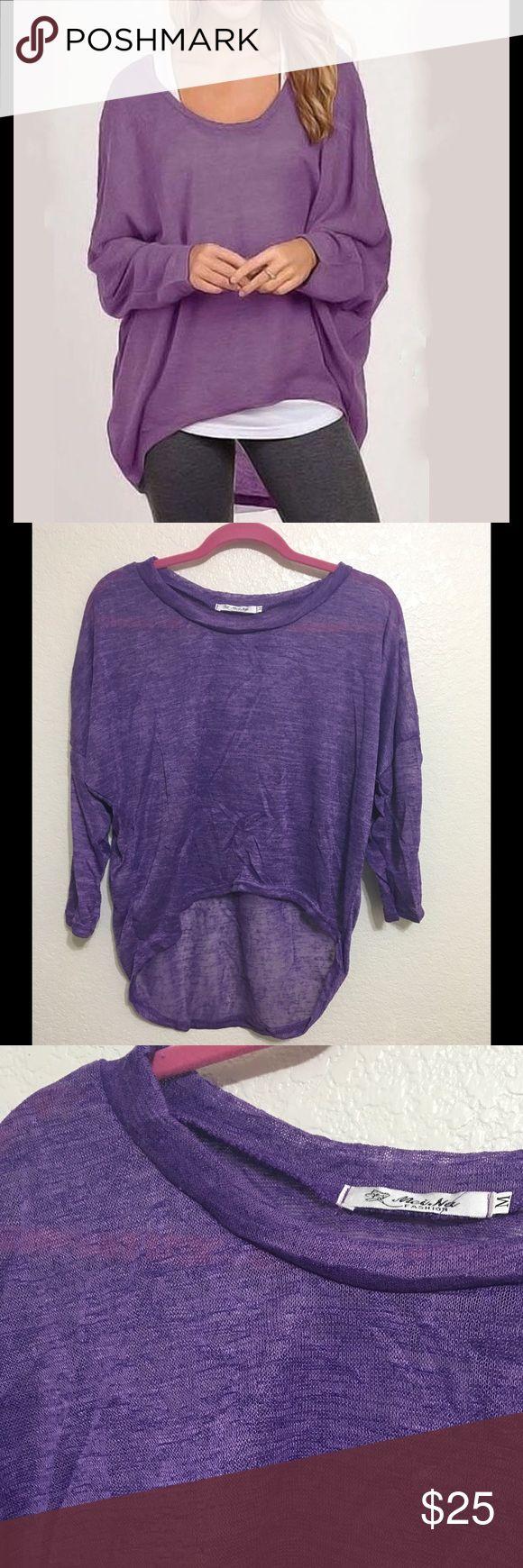 Shirt design measurements - Purple Fall Long Sleeve Loose Top Boutique