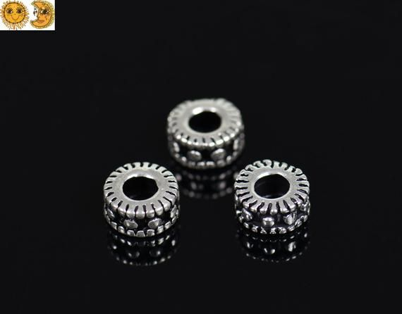 2pcs 925 Sterling Silver Spacer Beads with Ring Jewelry Findings Connector