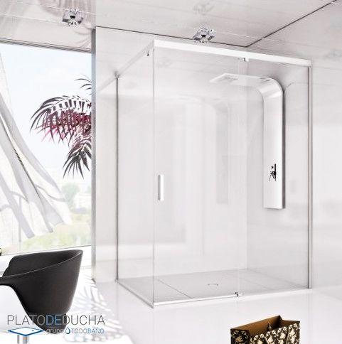 Mampara de ducha angular Nuria, de Seviban. Con tratamiento antical incluido y la periferia de aluminio. Elegancia y sencillez que además puedes personalizar como quieras gracias a diferentes serigrafías.