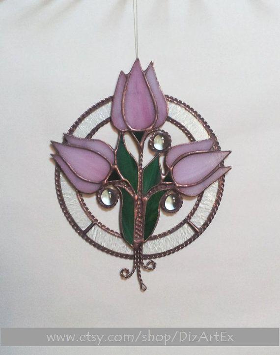 Подвеска Розовые тюльпаны. Цветы. Цветное декоративное от Jelena DizArtEx #подвеска #тюльпаны #розовые #весенние #цветы #ручнаяработа #handmade
