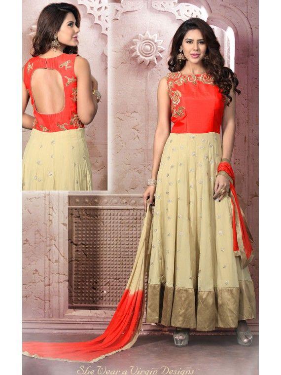 Eye-Filling Orange and Cream Designer Anarkali Salwar kameez