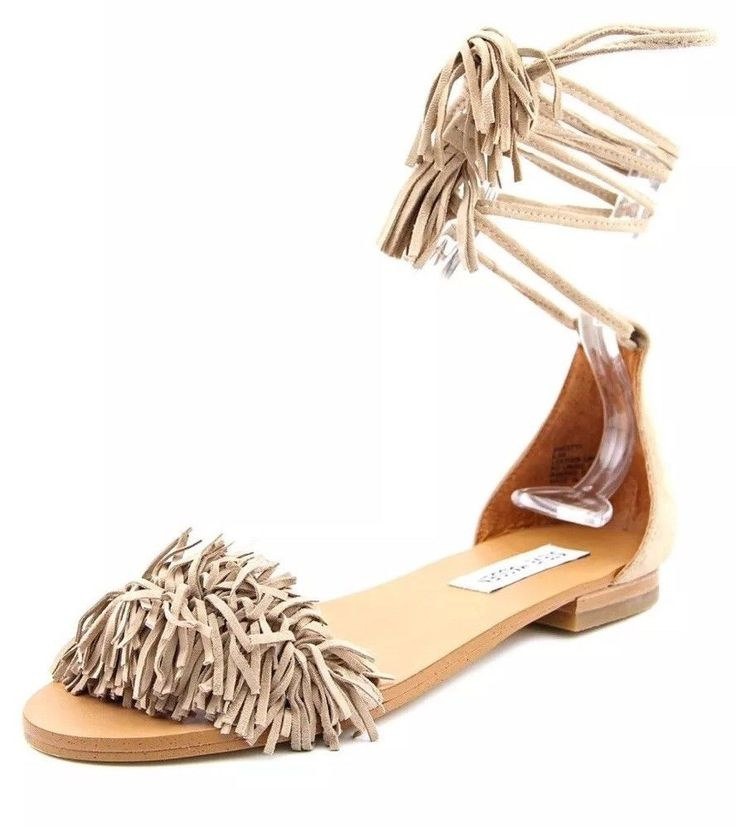 NEW Steve Madden Sweetty Nude Suede Fringe Size 9.5 Ankle-Wrap Sandals- $65+  | eBay