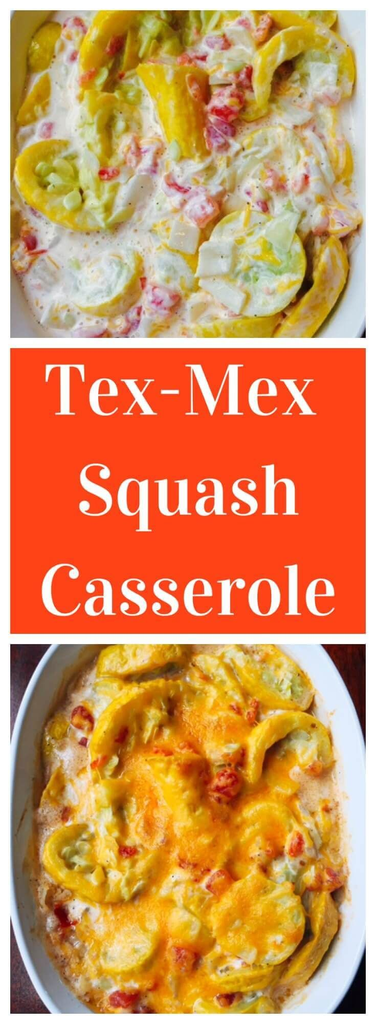 Tex-Mex Squash Casserole- squash mixed with rotel in a creamy sauce. Low carb