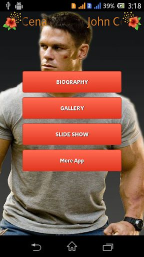 John Cena Gallery app consists of John Cena offline images.<p>Features.<p>* Offline gallery images.<br>* Zoom and pinch option<br>*Save images to SDcard<br>*Perform animated slideshow feature<br>*Added Bio-graphy features.<p>Keywords : John Cena ,john cena,wwe ,hollwood,cena , John Cena Gallery, John Cena photo , John Cena stills ,John Cena biography , John Cena fans, super star,John Cena wallpaper,hd wallpaper,Actor,Actor Gallery,wwe gallery http://Mobogenie.com