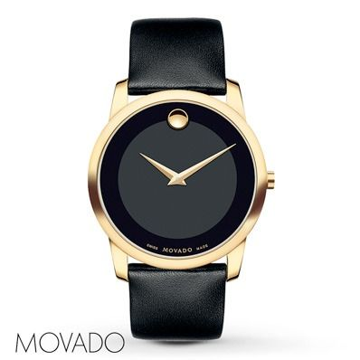 The iconic black Museum dial of this men's watch from Movado brings the style Dad will love.