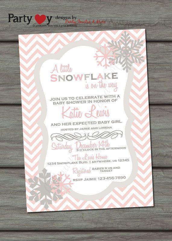 Snowflake Baby Shower Invitation Winter by PartyInvitesAndMore, $10.00