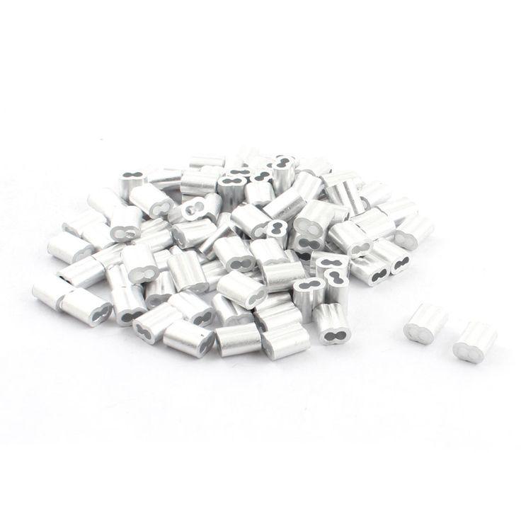 UXCELL 100 Stks 9 Mm Lange Aluminium Zandloper Adereindhulzen Mouw Krimp Voor 2 Mm Draad Touw