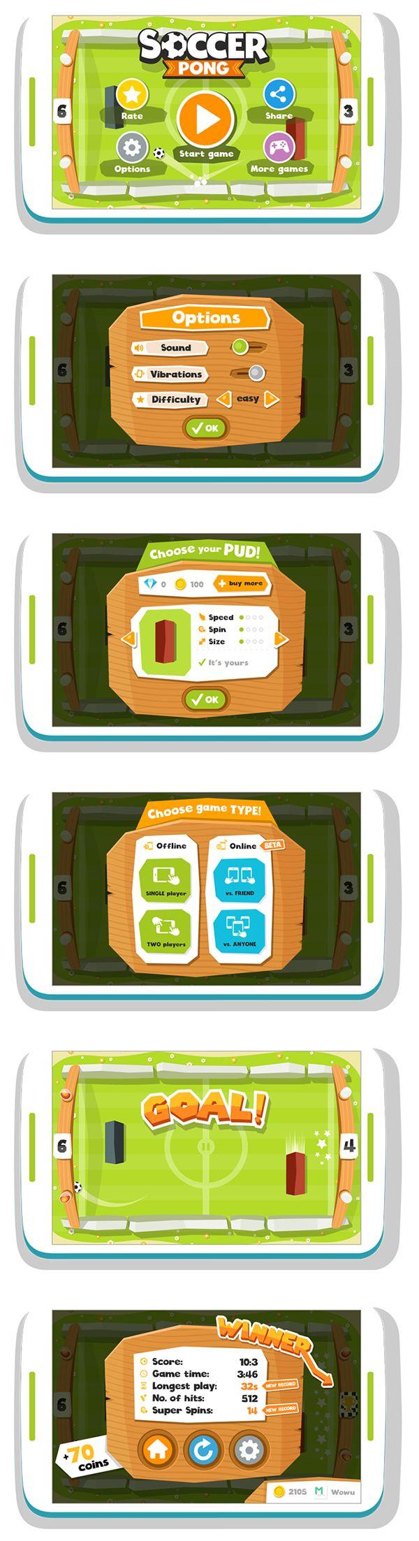 Soccer Pong Flat UI