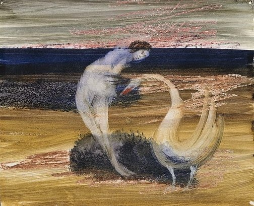 An image of Leda and the swan by Sidney Nolan