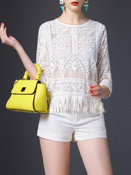 Fringed Cotton-blend Cropped Top