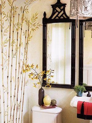 Suzie: Black gold chinoiserie bathroom   Black faux bamboo pagoda mirror, wall mural and white ...