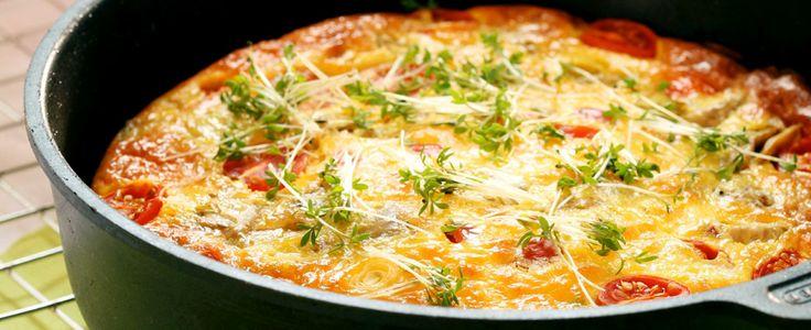 Frittata med artisjokk, tomat og squash