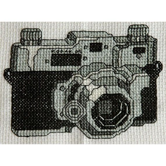 Cool Cross Stitch Pattern- Vintage Retro Black and White Kodak Camera