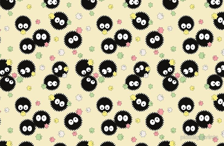 Ghibli Wallpaper Iphone Ghibli Inspired Soot Sprites With Candy Pattern Laptop