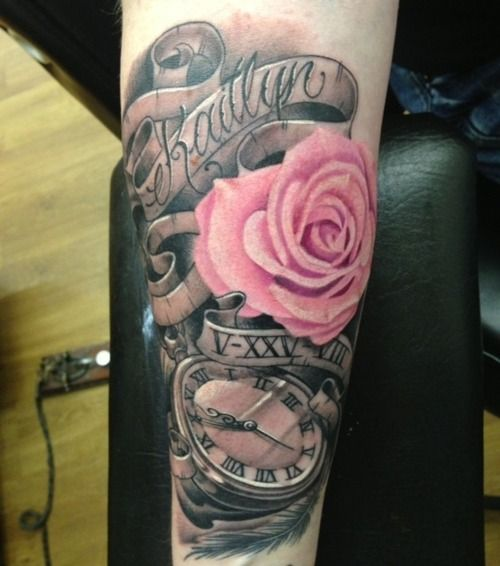 dad tattoos Daughters | This is my tattoo for my daughter. Her name, birthdate in Roman ...