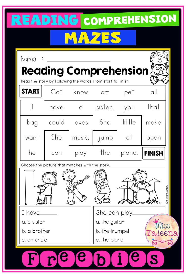 Free Reading Comprehension Mazes Reading comprehension