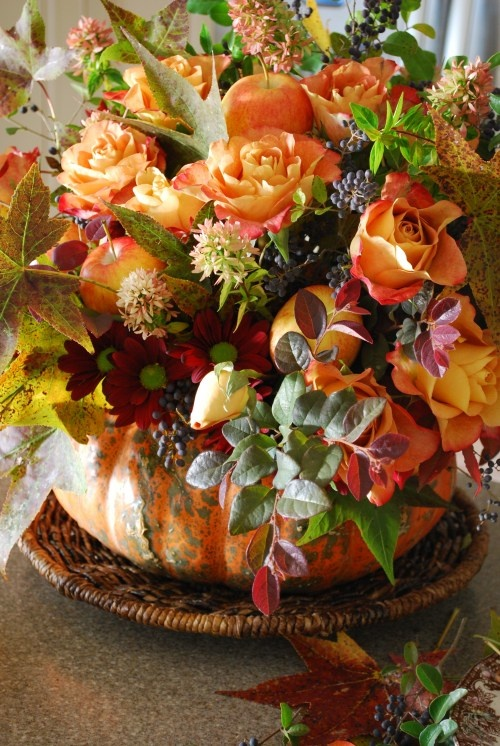 A Pumpkin Vase Centerpiece Floral Arrangements