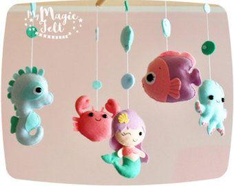 Bebé móvil océano bebé niña sirena móvil vivero por MyMagicFelt