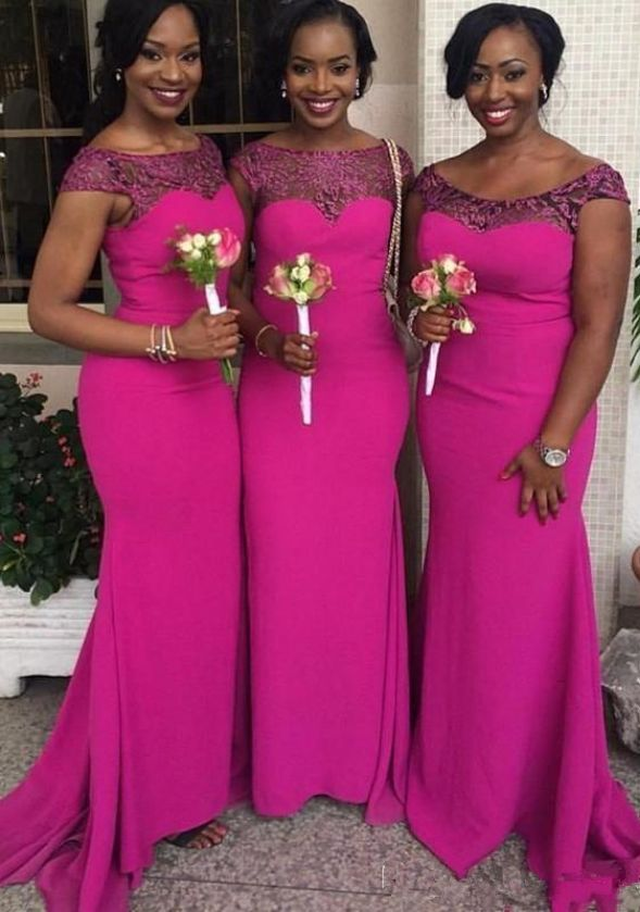 30a4c36a841 Fuchsia Custom Made New South African Mermaid Bridesmaid Dresses Cap  Sleeves Lace Appliques Maid of Honor
