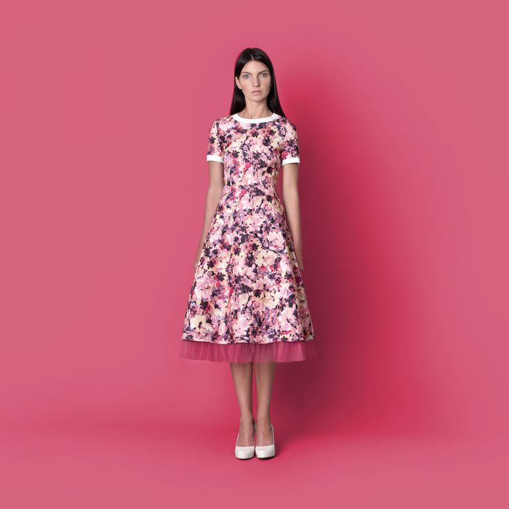 Cocoon Spring - Summer 2015 / Muss collection / Flower print pink dress with tulle underskirt.