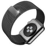 Apple Watch Band Maxboost Plexus 42mm Milanese Loop Stainless Steel Mesh Bracelet Strap Accessories for Apple Watch All Models (Magnetic Closure No Buckle Needed)  Black Space Gray