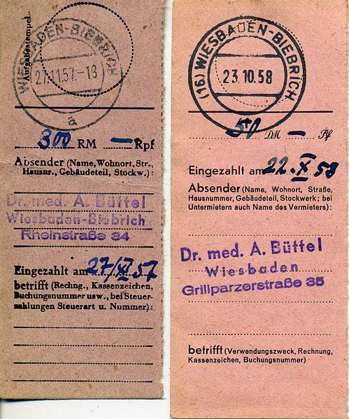 Deutsch: Postanweisungen der Deutschen Post 1957 wurden noch Formulare der Deutschen Reichspost verwendet, als Währungseinheit waren RM (Rei...