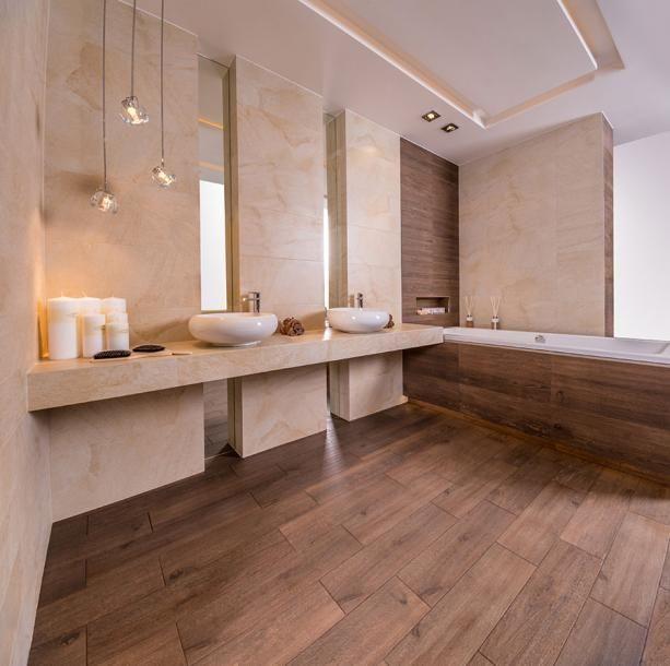nowoczesna łazienka z kamieniem i drewnem