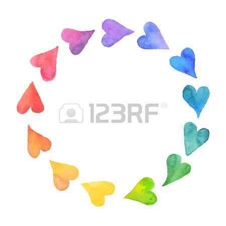 Cuori acquerello elemento. Cornice colorata da cuori acquerello. Acquerello colorato modello di scheda romantico. Forma di cerchio arcobaleno disegnato con le vernici.