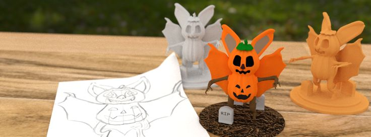 3D render of my 3D printable Jack O'Bat https://www.shapeways.com/model/2800842/jack-o-bat.html?