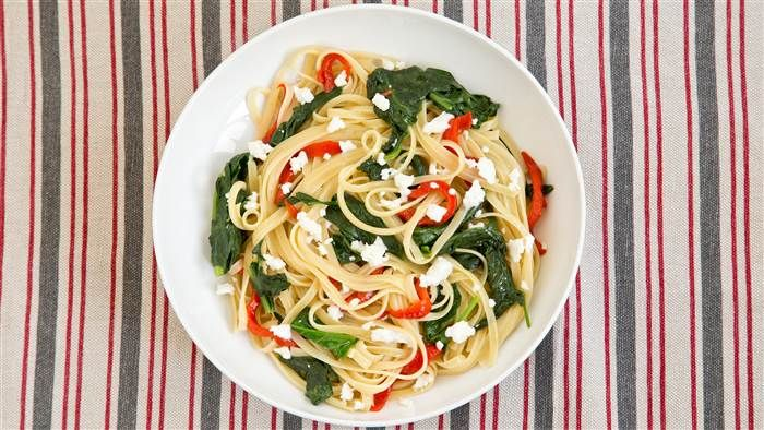 Linguine with Sauteed Spinach, Roasted Red Peppers and Feta