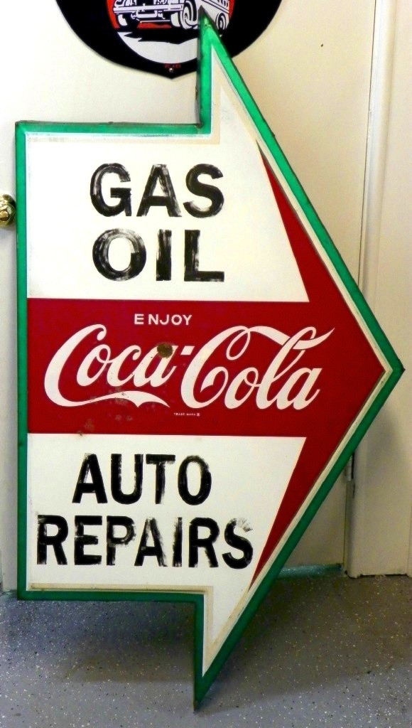 Love this directional Coca Cola inspired arrow sign /  Brought to you by Glidden Paint event on FunkyJunkInteriors.net