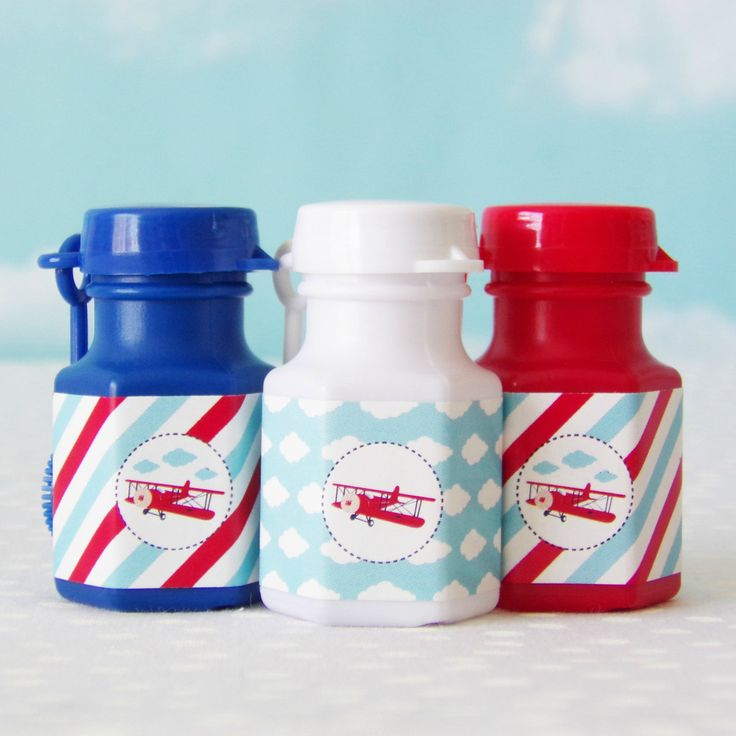 Vintage Airplane Mini Bubble Party Favors #1st #1st-birthday #airplane