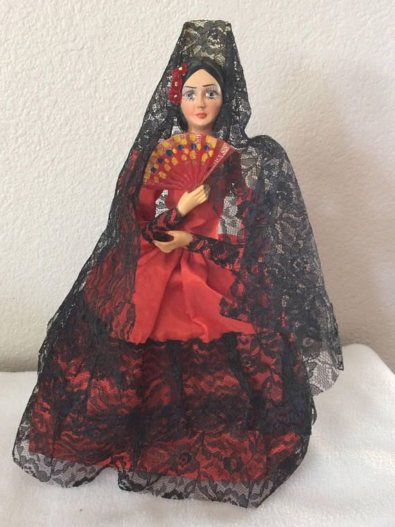 Vintage Carselle Munecos Mexican Girl Doll Red Black Lace