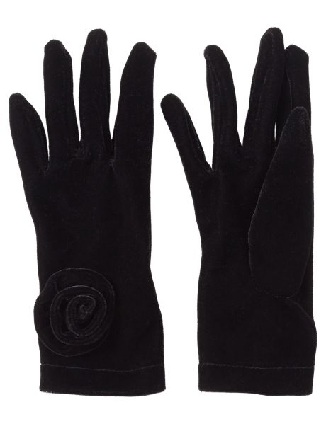 #NewandNow Keep your hands warm with these velvet rose gloves.