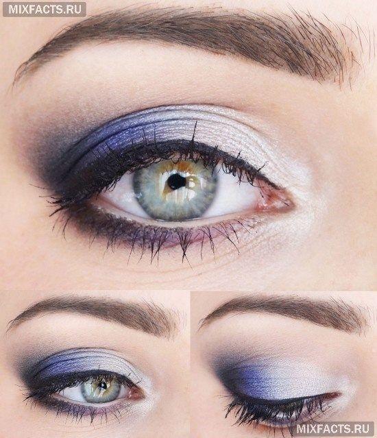 Идеи макияжа для зеленых глаз пошагово: светло-зеленые глаза и фиолетовые тени