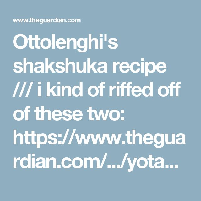 Ottolenghi's shakshuka recipe /// i kind of riffed off of these two: https://www.theguardian.com/.../yotam-ottolenghi... and http://toriavey.com/.../summer-2010-travel-blog-shakshuka/. used slightly more than 1/8c of olive oil, 2 (green) peppers, 1 large onion, ground cumin and thyme instead of seeds/springs (added with the onions), included the saffron and paprika, skipped the cilantro, parsley. and tomato paste. i didn't need to add any water either.