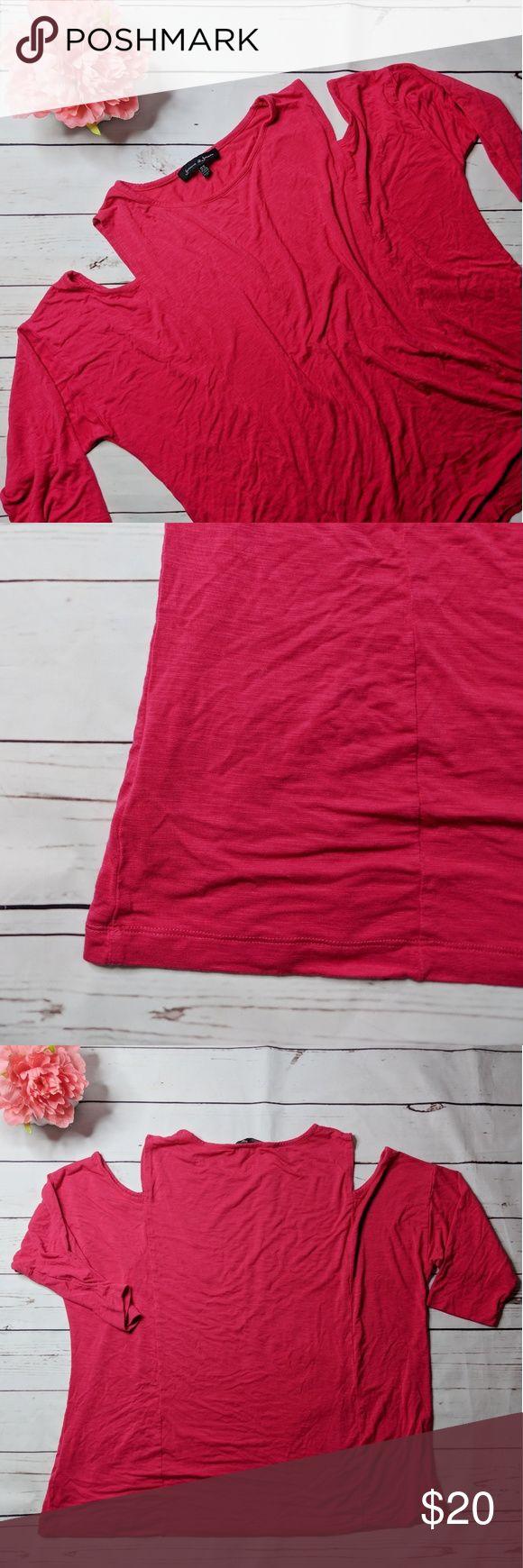 Jasmine & Juliana • Cold shoulder 3/4 sleeve tee Jasmine & Juliana pink cold shoulder 3/4-sleeve t-shirt. No stains, tears or holes. Excellent condition. Like new.   Measurements: Flat bust: 27 in Length: 27 in jasmine & juliana Tops Tees - Long Sleeve