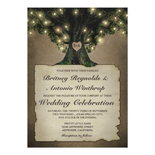 Vintage Grandfather Oak Tree Wedding Invitations