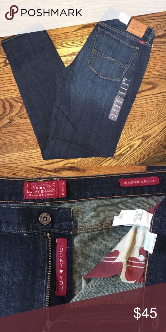 """NWT Lucky Brand Men's Dark Skinny Jeans 36x32 34 I bought these at Lucky Store for my husband but they seem to run smaller than the others he has. These are the """"10 Authentic Skinny"""" Style. They are a size 36x32. They are a dark wash. Lucky Brand Jeans Skinny"""